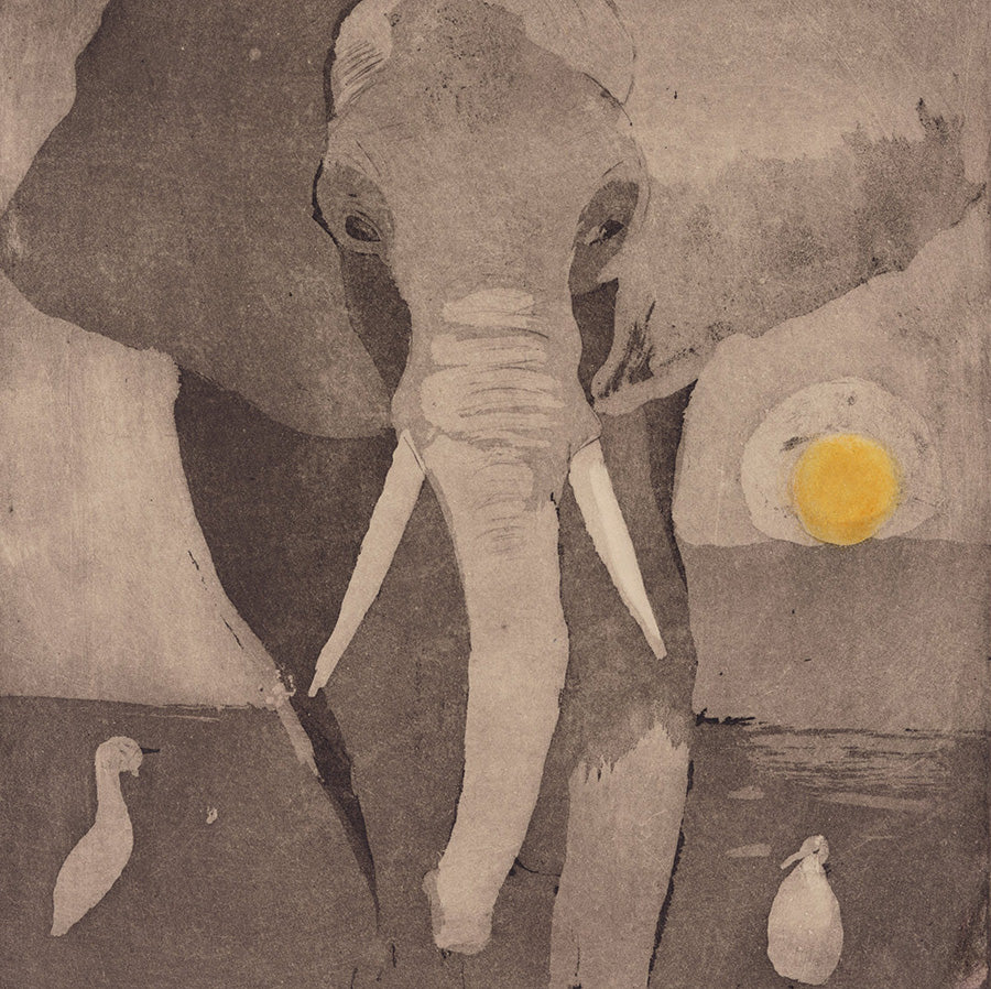 Anna Jeretic - Elephant - golden sun and two birds - aquatint - detail