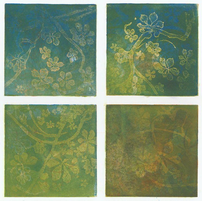 Anna Jeretic - Chestnut Leaves - green yellow blue bontanical - sugarlift aquatint