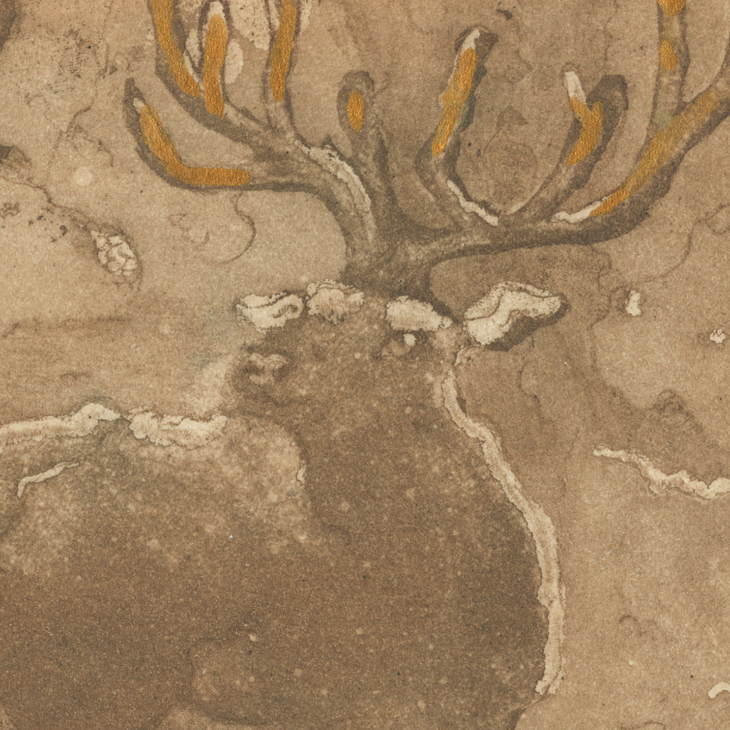 Anna Jeretic - Fontainebleau Stag - aquatint - brown and gold