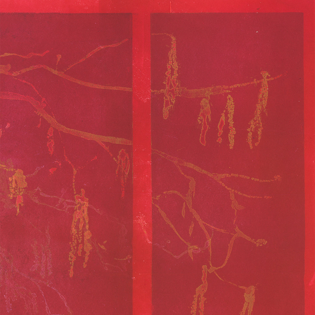 Anna Jeretic - Hazelnut Catkins - red tree w border - sugarlift aquatint