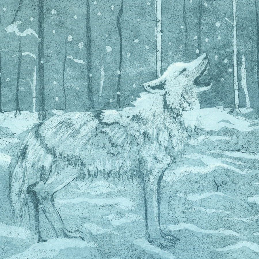 Anna Jeretic - Loup Blanc - White Wolf - aquatint blue - snow forest