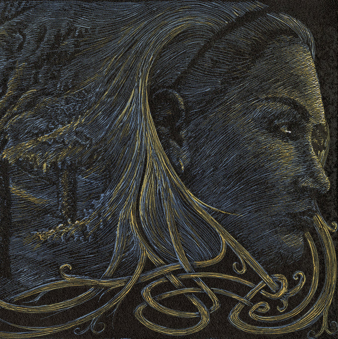 Chad Nelson - Midwinter - Freyja and the Northwind - color woodcut reduction - detail