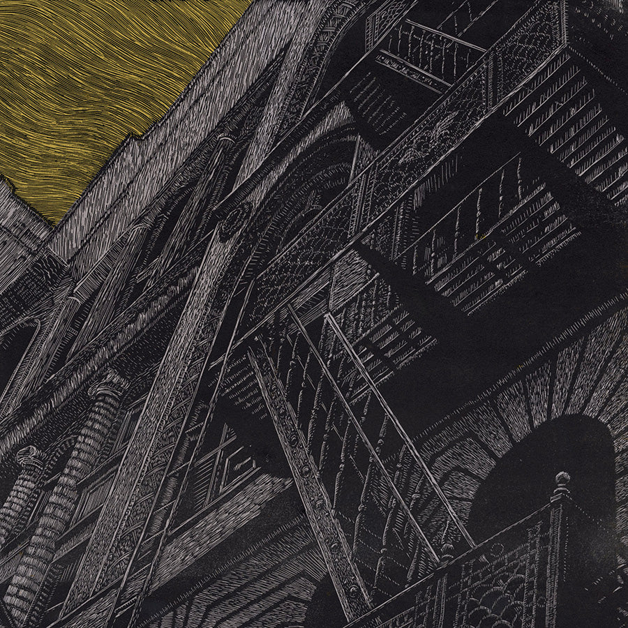 Chad Nelson - Near Grand Central - woodcut and screen print - detail