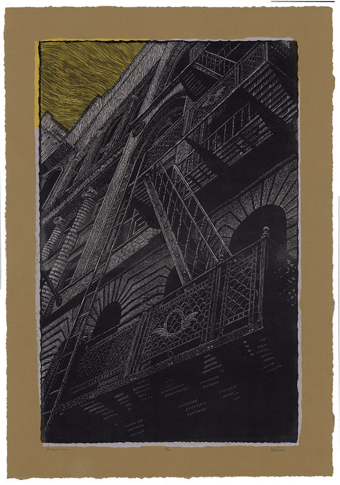 Chad Nelson - Near Grand Central - woodcut and screen print - full sheet