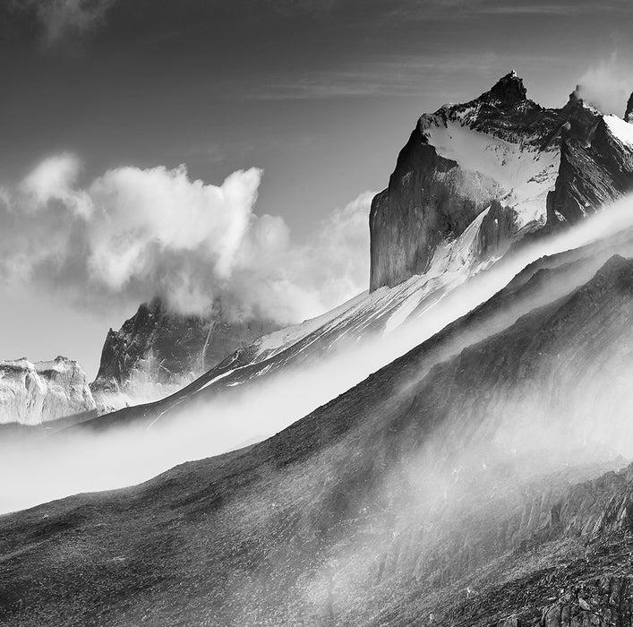 Black and white photograph - by ANDERSON, Daniel - titled: Clearing Fog, Patagonia