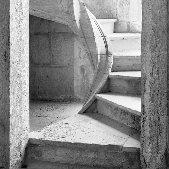 Black and white photograph - by ANDERSON, Daniel - titled: Cloister Stairs