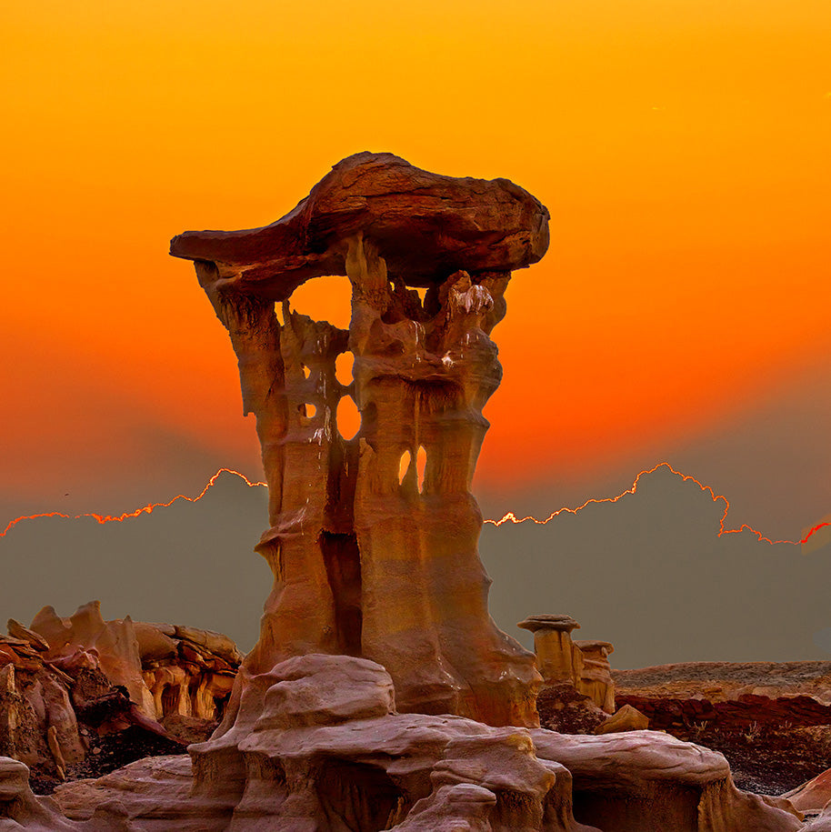 Eroded Pedestal at Sunset