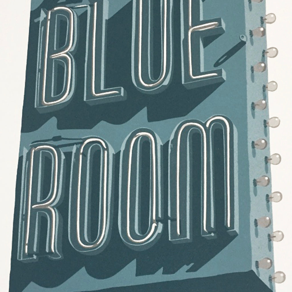 Dave Lefner - Blue Room - reduction linocut - neon sign text los angeles