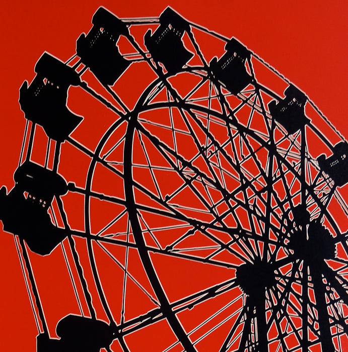 Dave Lefner - County Fair Ferris Wheel - color reduction linocut - silhouette red black