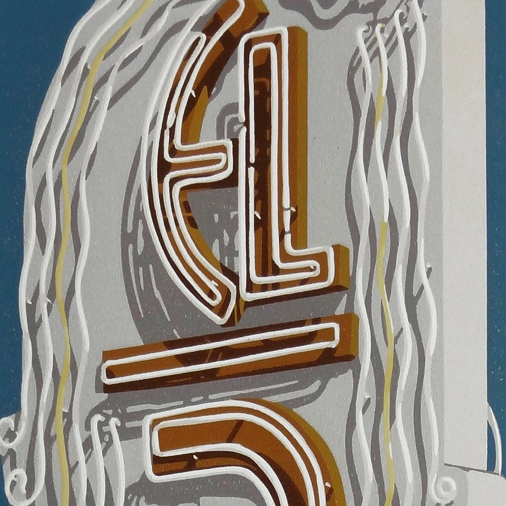 Dave Lefner - El Rey Theater - color reduction linocut - neon sign text marquee Los Angeles