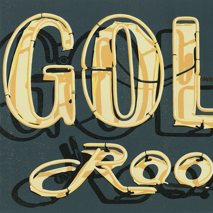 Dave Lefner - Gold Room - Color linocut reduction - neon sign - Los Angeles - detail2
