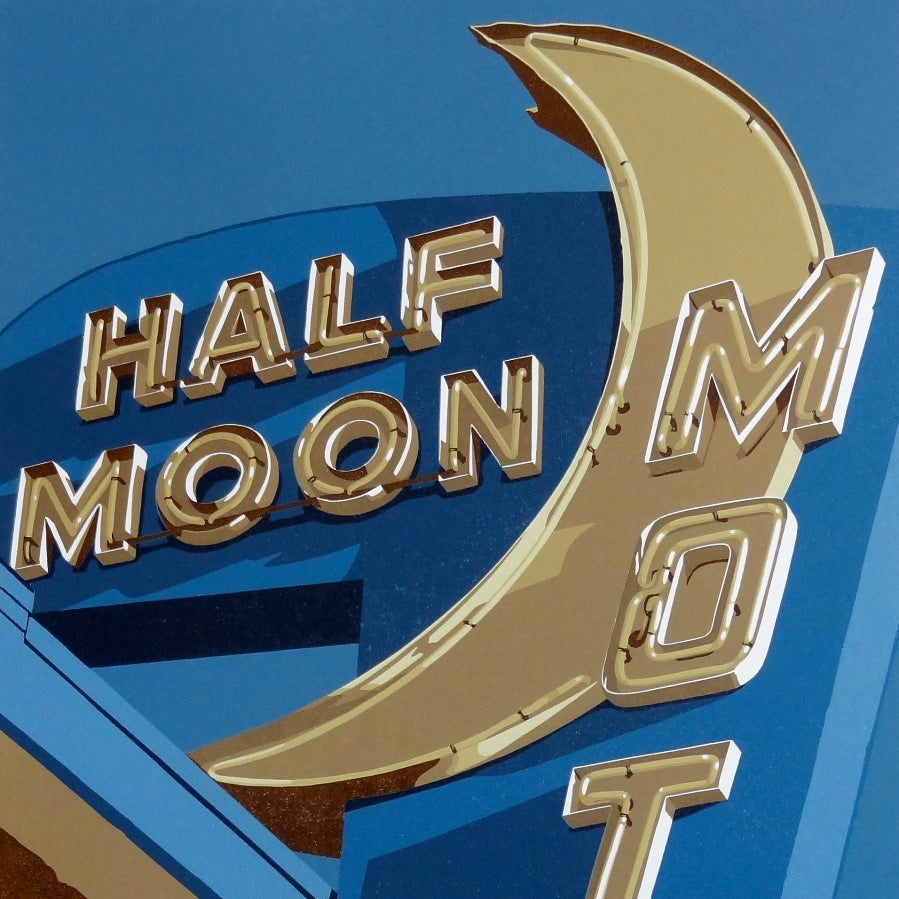 Dave Lefner - Half Moon Motel - 11 color linocut reduction - faux stone - crescent moon - powder blue - detail
