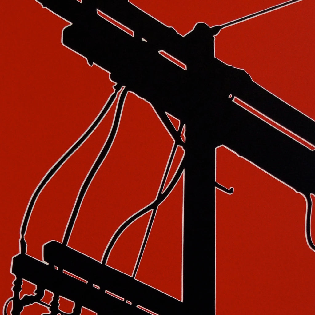 Dave Lefner - Untited 1 - Power Struggle Series - color reduction linocut - power lines electricity red