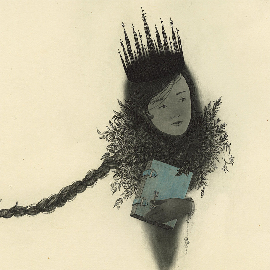Fumiko Takeda - Recitation - 朗読 - child holding blue book - bird perched on a braid of hair - detail