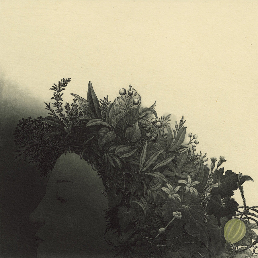 Fumiko Takeda - 武田 史子 - Dreamer - 夢人 - person with hair of plants flowers foliage - etching aquatint - detail
