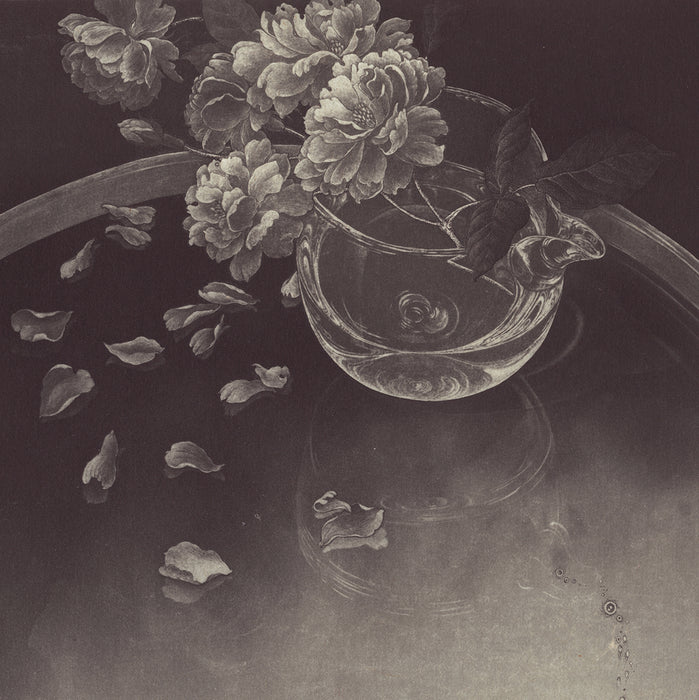 Fumiko Takeda - 武田 史子 - Silver Time - 銀色の時間 - intaglio etching aquatint - goldfish and flower
