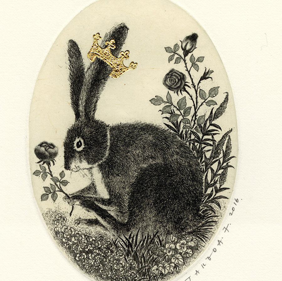 Fumiko Takeda - Rabbit in the Forest - 森のうさぎ - rabbit wearing a crown holding a rose