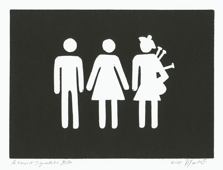 Linocut - by BAUTISTA, Helene - titled: Antisexist Signalitic