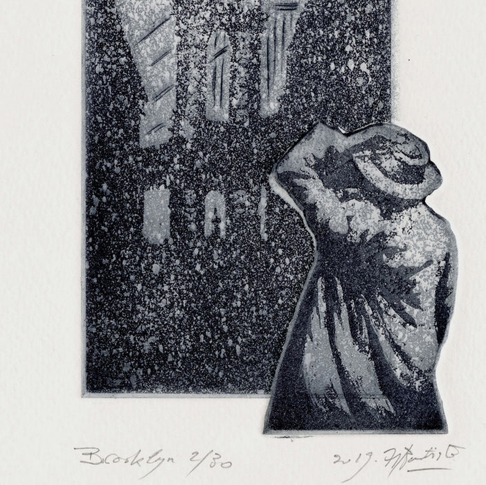 Helene Bautista - Brooklyn - etching of Brooklyn Bridge in the snow