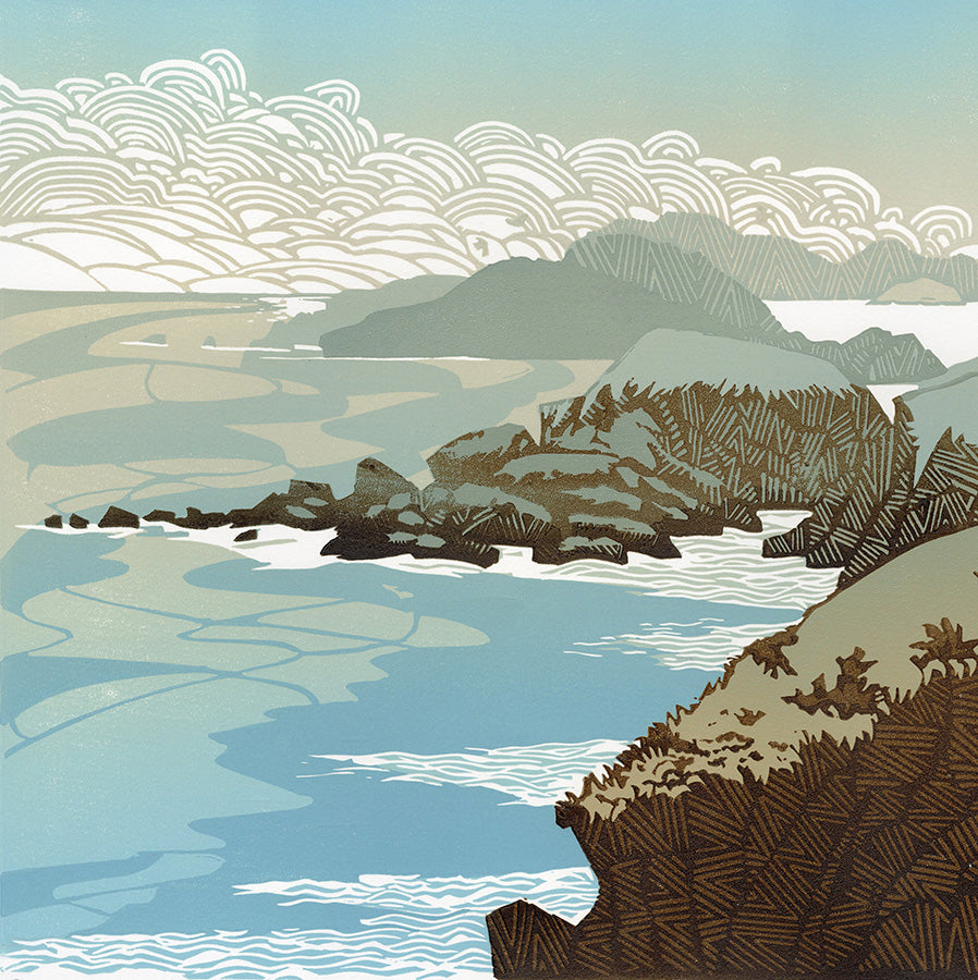 Ian Phillips - Cliff Edge - color linocut reduction - patterened cliffline - tender blue seas - puffy clouds