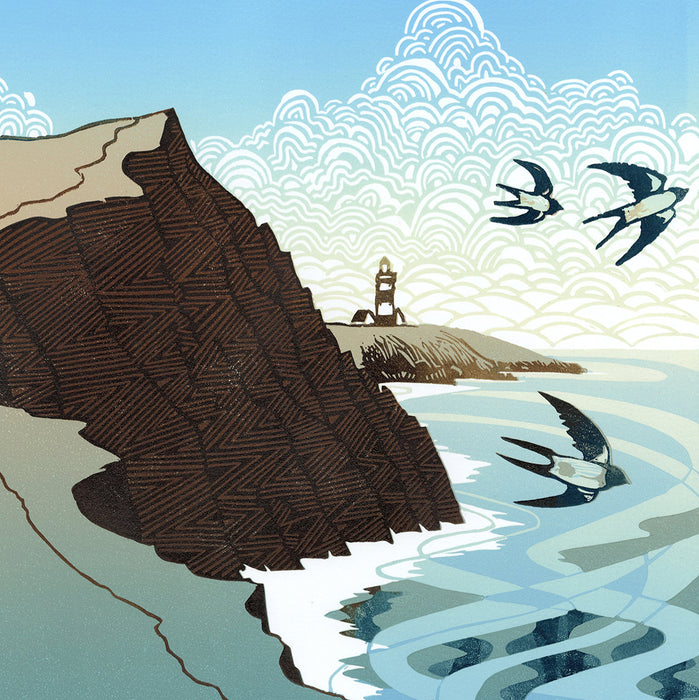 Ian Phillips - Coast Path - color linocut - craggy shore line cloud sky England Wales Britain - birds lighthouse
