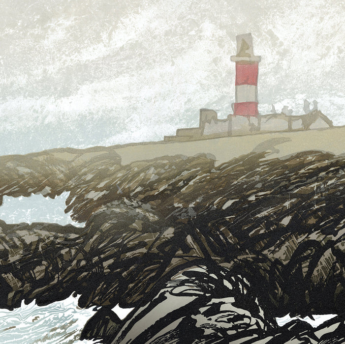 Ian Phillips - Light House - craggy shore line cloudy sky England Wales Britain - sea swell waves