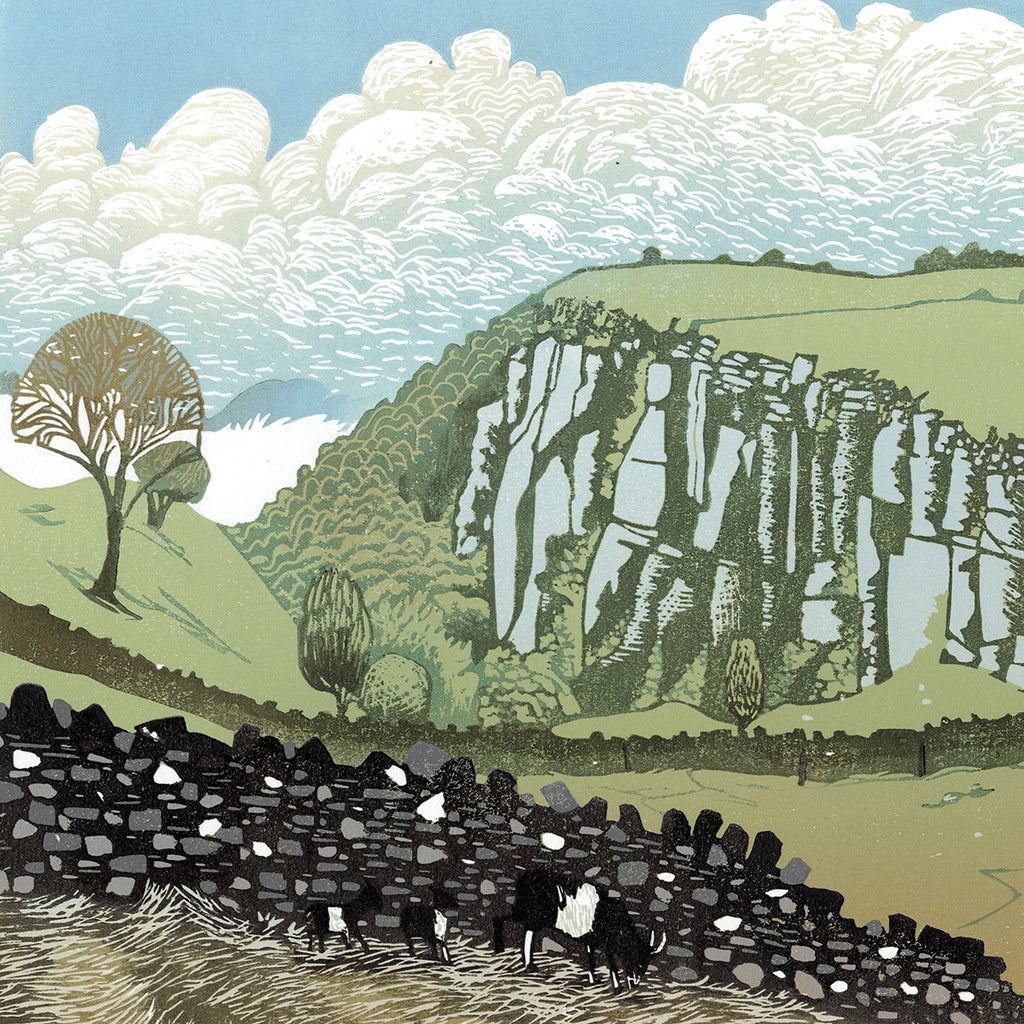 Ian Phillips - Looking Back - color linocut - stone wall rolling hills stylized clouds craggy cliff