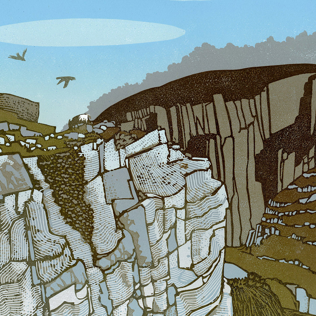 Ian Phillips - Walking with Laura - reduction linocut - cliffs rocks blue sky