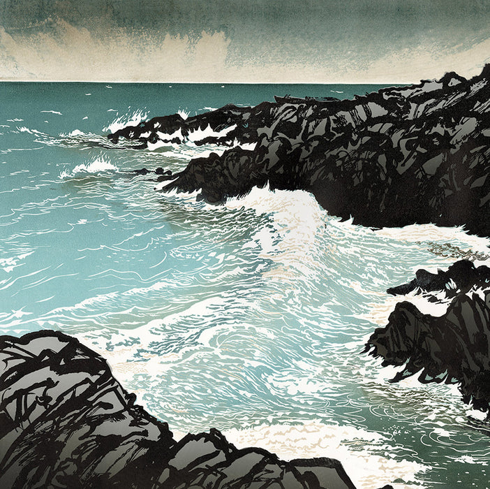 Ian Phillips - North Sea Swell - Pine Feroda - color linocut - Wales - wild Welsh coastline - detail
