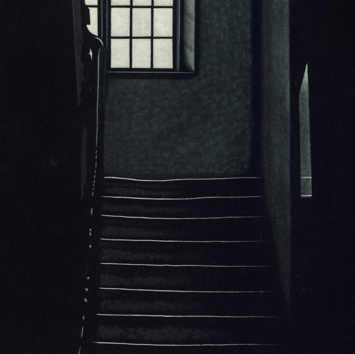 Jukka Vanttinen - Nightmeeting - mezzotint - stairwell with window - detail