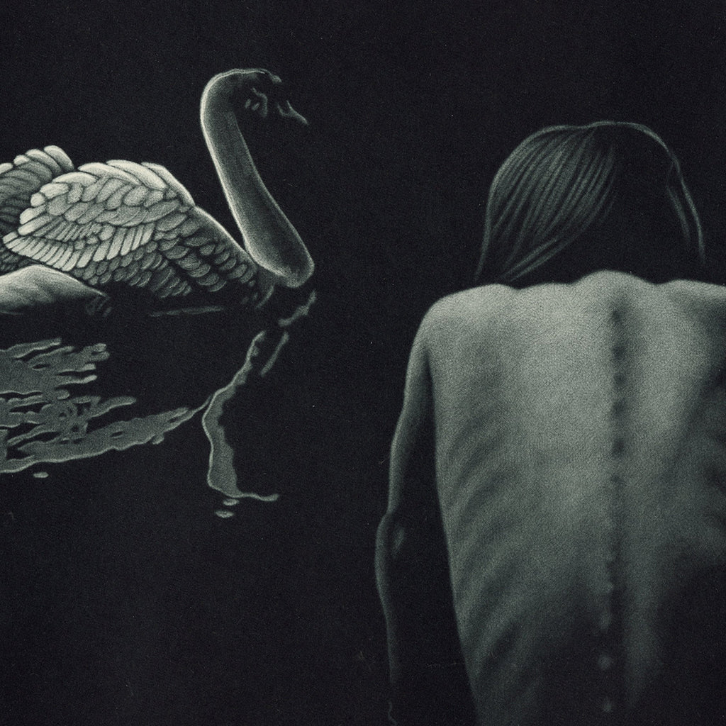 Jukka Vanttinen - the swan - mezzotint - nude with water fowl