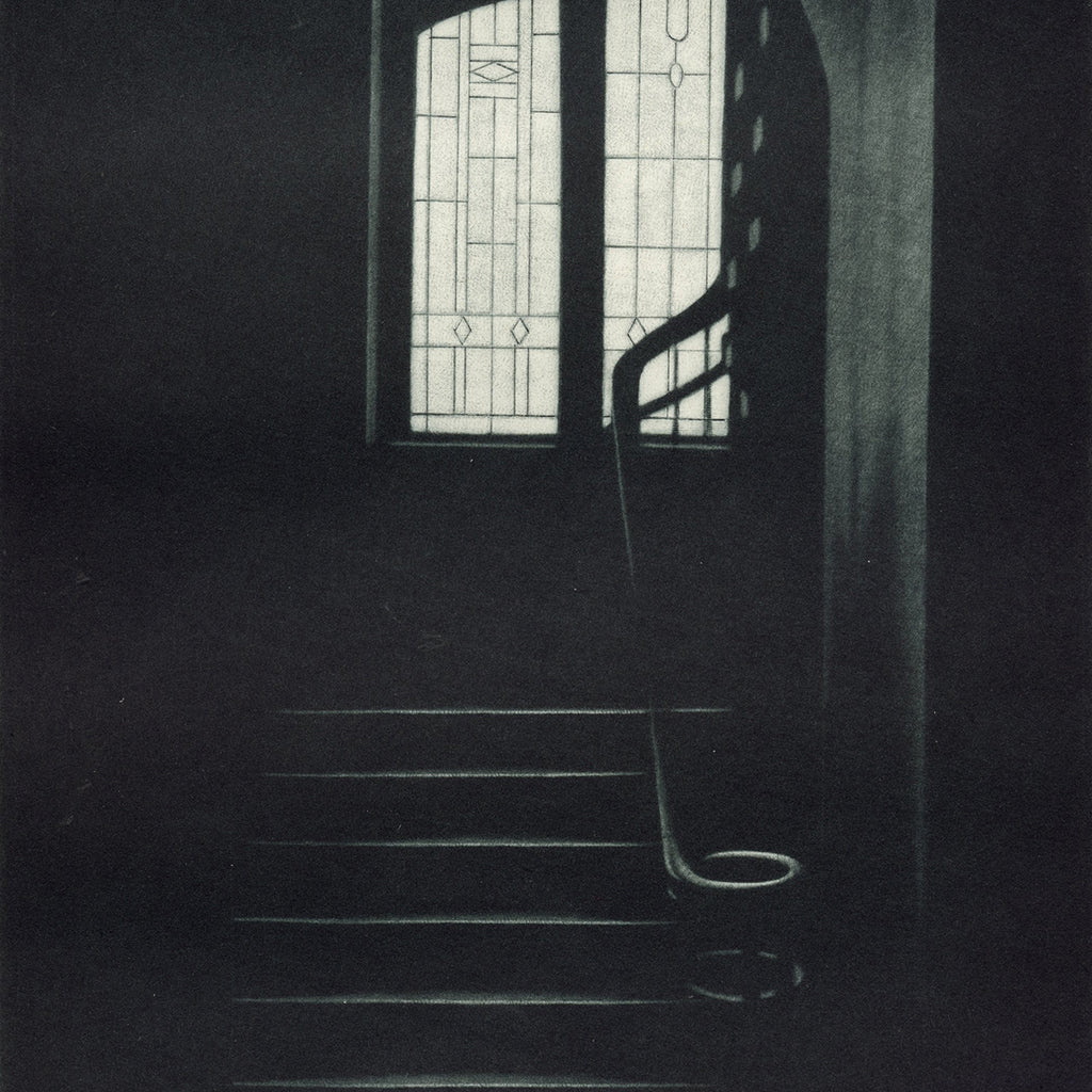 Jukka Vanttinen - K was here - mezzotint - stained glass window interior hallway tile