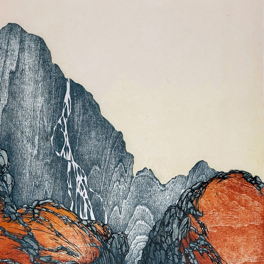 Laura BOSWELL - Early Morning Hillside - Linocut and woodblock.