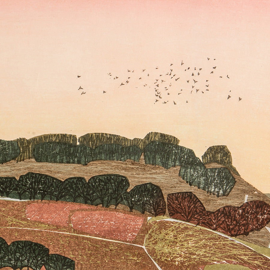 Laura BOSWELL - Rhubarb Sky, Hawnby - Japanese water-based woodblock, Edition of 20.