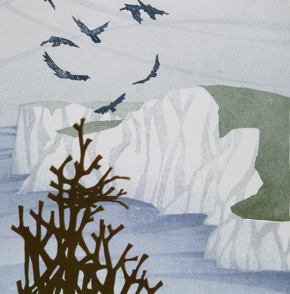 Laura Boswell - Bird Dance Cliffs - Combined Japanese woodblock and linocut reduction - bird sheep cliffs clouds wind ocean