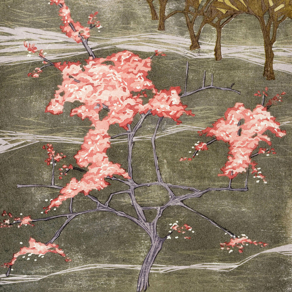 Laura Boswell - Cherry Blossom - Japanese watercolor woodblock - landscape abstraction pink
