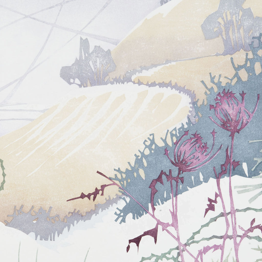 Laura Boswell - Chiltern_Seasons_Winter - Japanese watercolor woodblock - thistle winter landscape
