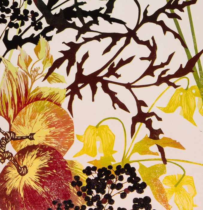 Laura Boswell - Garden Seasons Autumn - reduction linocut - flowers flora fruit berries still life