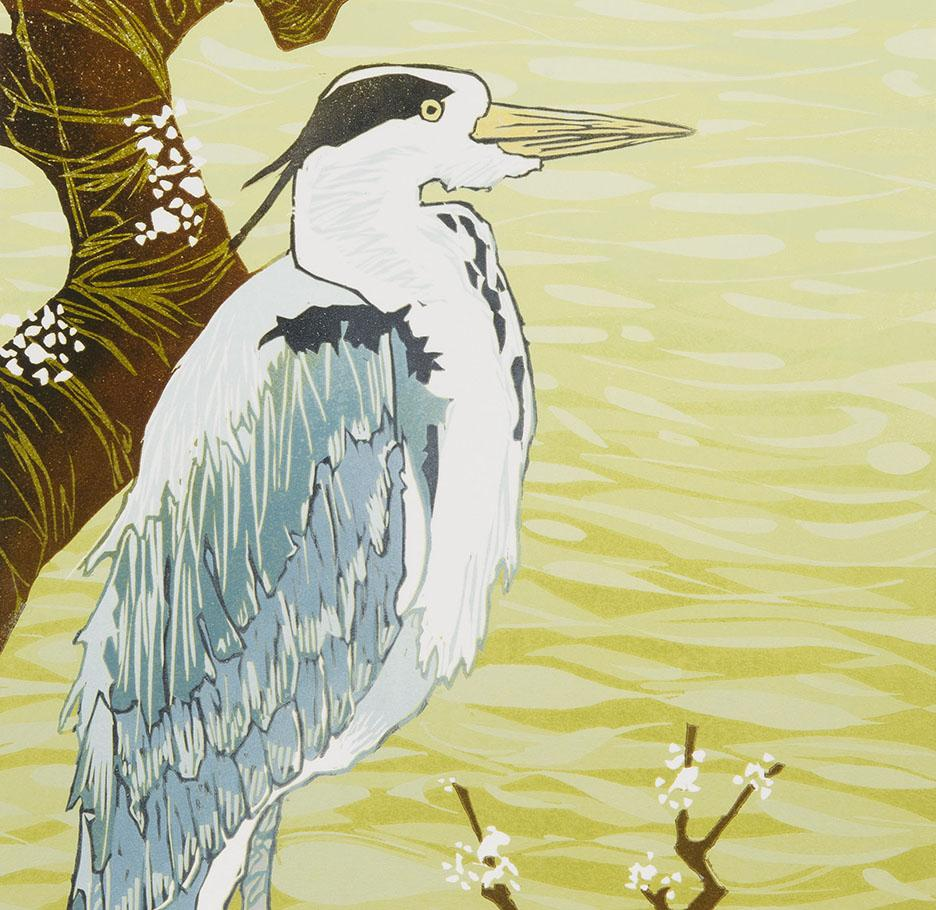 Laura Boswell - Heron and Wild Plum - color linocut - flowering tree bird waterscape