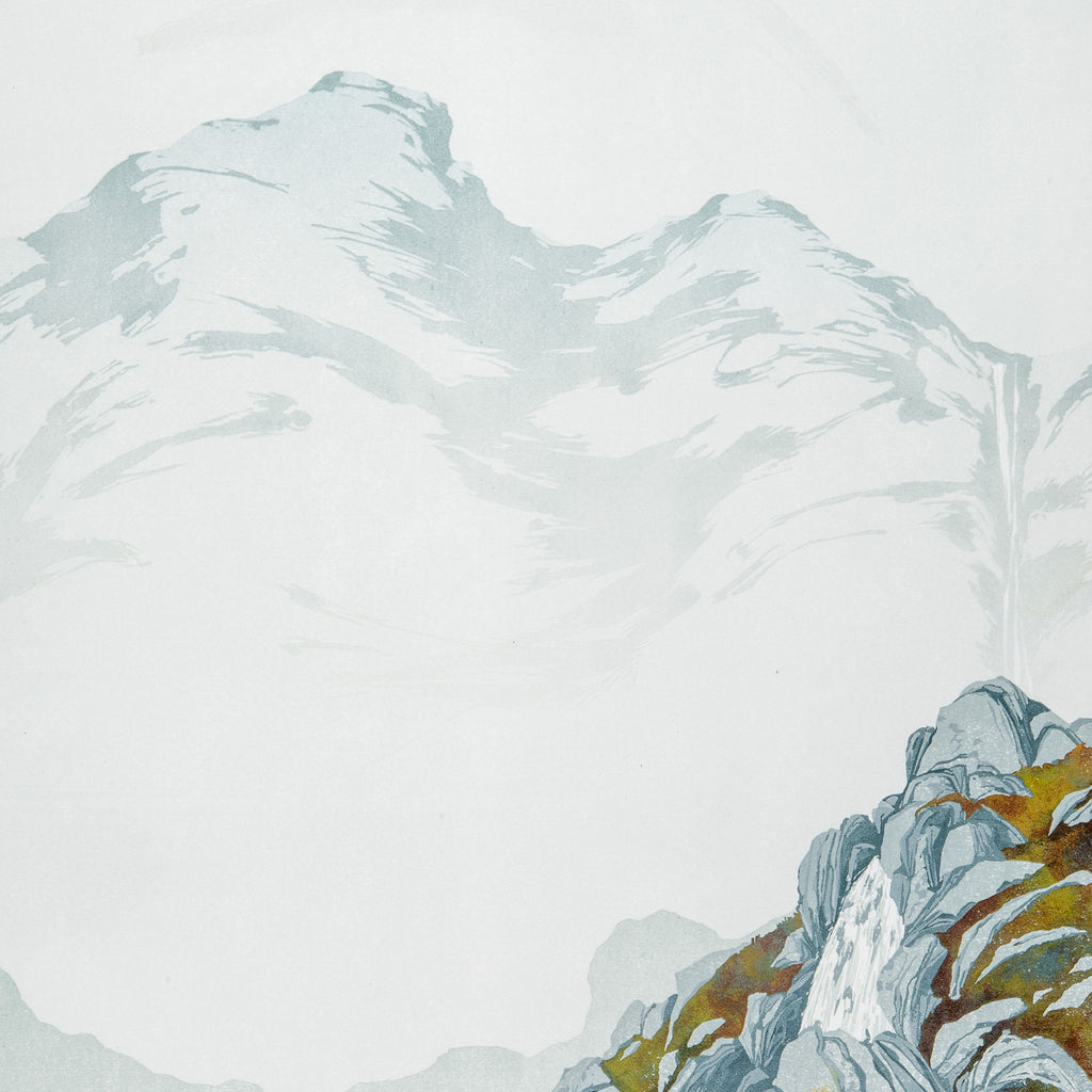 Laura Boswell - High Falls - reduction linocut - fog, mountains rocks lichen falls