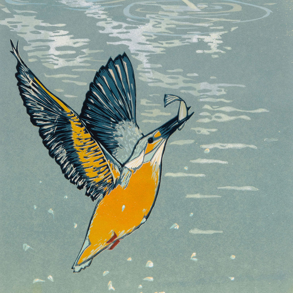 Laura Boswell - Kingfisher Splash - linocut - bird water