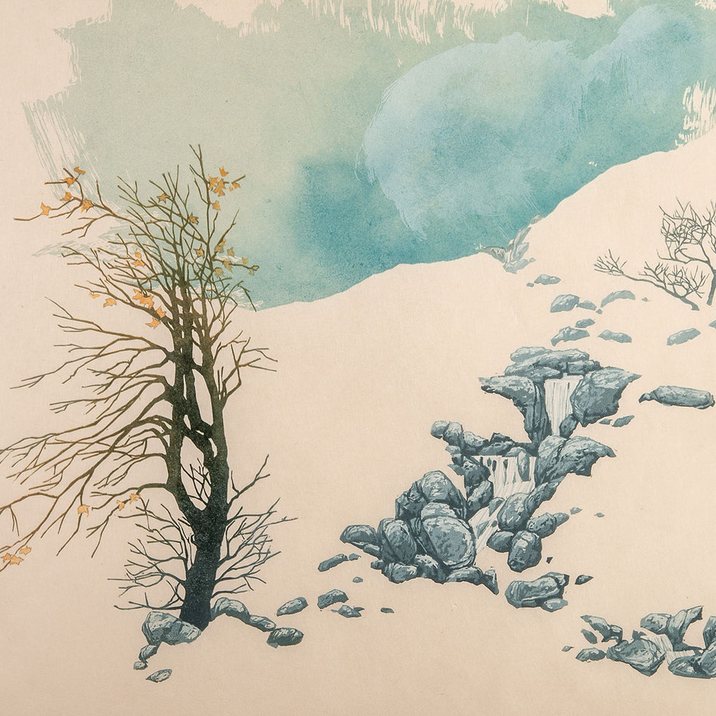 Laura Boswell - Moorland Spring - reduction linocut - white space snow bare tree rocks