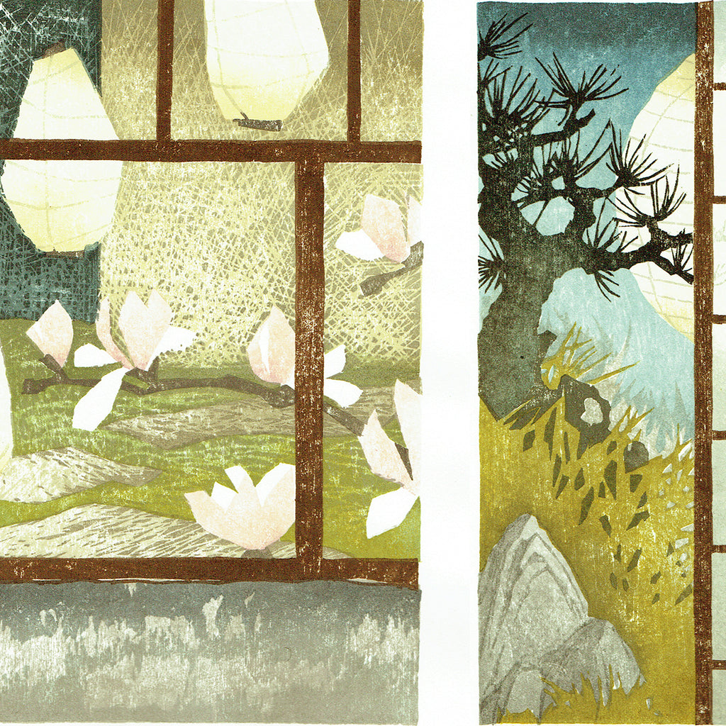 Laura Boswell - Night Gardens, Kyoto - Japanese watercolor woodblock triptych