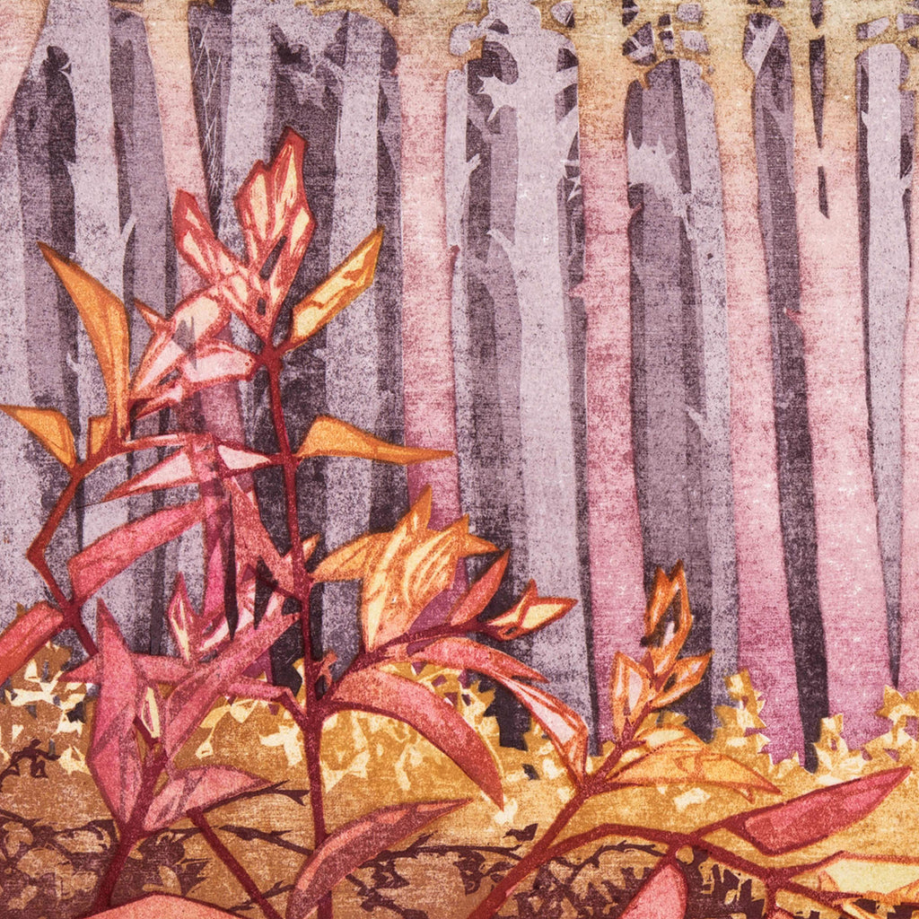 Laura Boswell - Private Woods - Japanese watercolor woodblock - pink birch trees quiet autumn