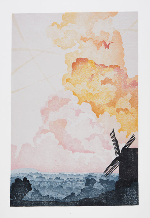 Laura Boswell - Twelve Views Brill Windmill - color woodcut reduction - colorful clouds sunset mist