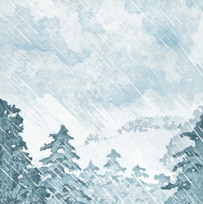 Laura Boswell - Twelve_Views_Whiteleaf_Cross - color woodcut reduction - rain pine trees clouds blue mountains