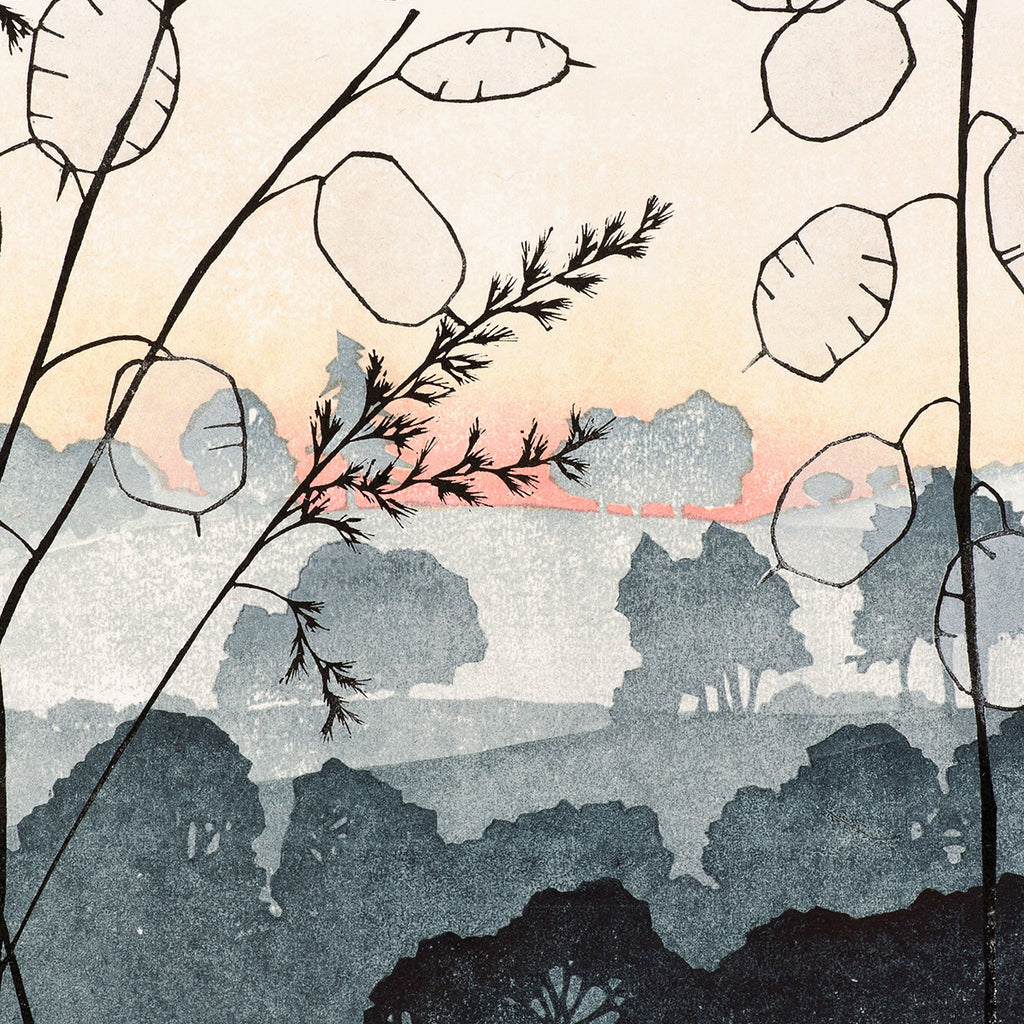 Laura Boswell - Vale Dawn - Combined Japanese woodblock and linocut - rolling hills dawn trees quiet solitude