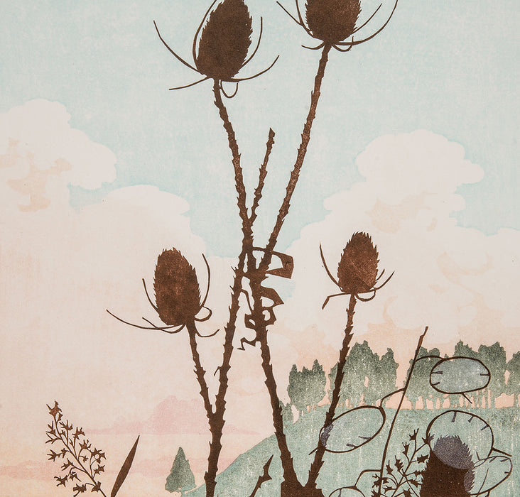 Laura Boswell - Vale Teasles - Combined Japanese woodblock and linocut - hills dawn clouds