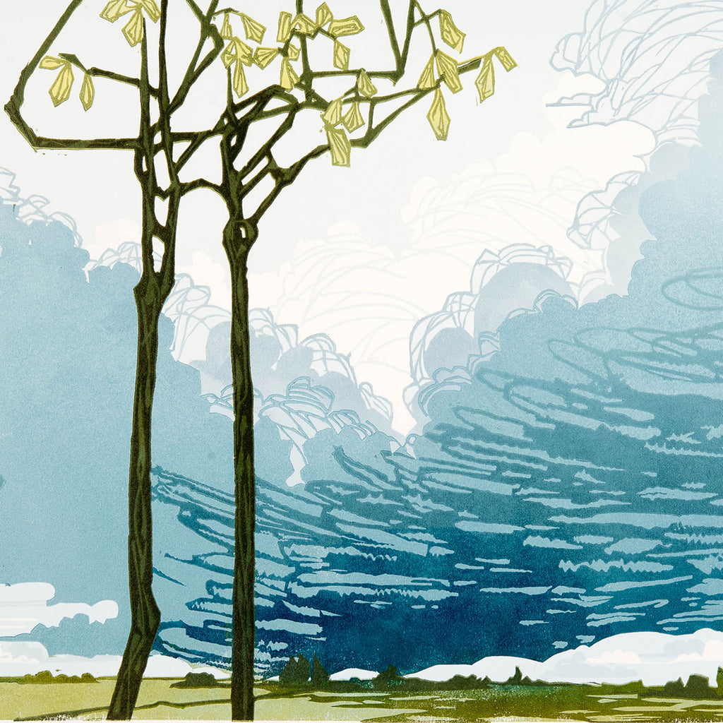 Laura Boswell - Small Trees Big Sky - reduction linocut - clouds plains storm blue