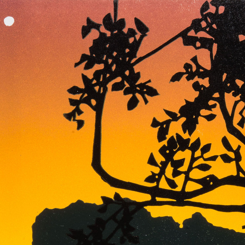 Laura Boswell_Dusk_Moon-Color Reduction linocut - tree sunset landscape